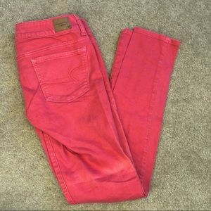 American Eagle Coral Skinny Jeans